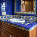 bright colored tiles in bathroom