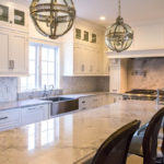 kitchen with mosaic tile backsplash