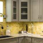 kitchen backsplash with yellow tile